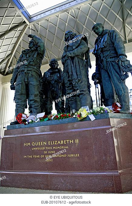 Green Park Aircrew sculptures at the RAF Bomber Command Memorial unveiled by HM Queen Elizabeth II on the 28th June 2012