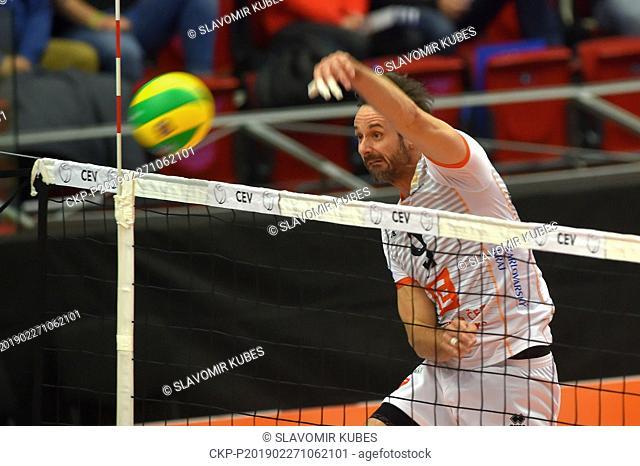 Ondrej Hudecek (Karlovy Vary) in action during the 6th round group B of volleyball Champions League match Karlovarsko vs Modena in Karlovy Vary, Czech Republic