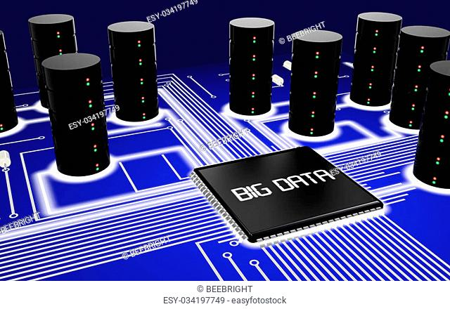 Circuit board with a chip and the word big data and several servers mounted on it