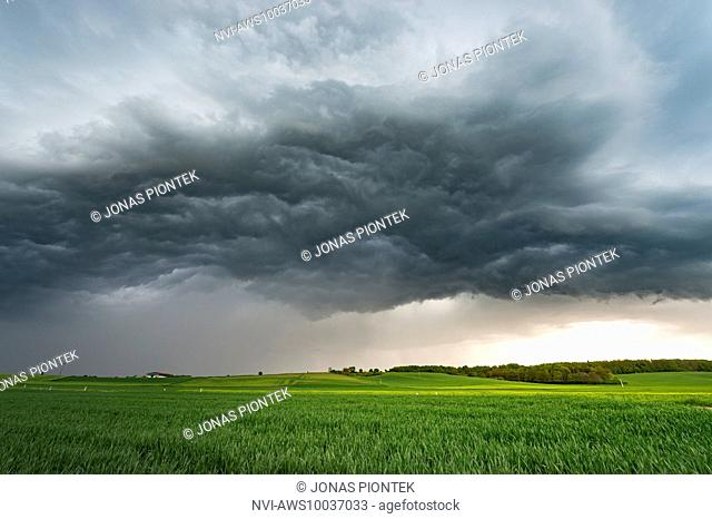 Turbulent clouds (whale's mouth) under a shelfcloud near Lich, central Hessia, Germany