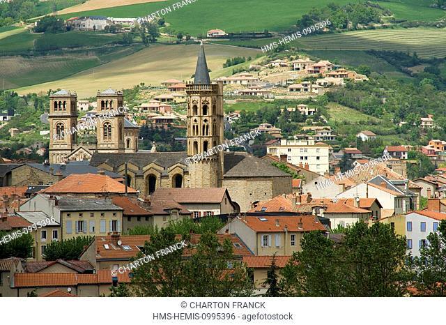 France, Aveyron, Parc Naturel Regional des Grands Causses (Natural Regional Park of Grands Causses), Millau, Notre Dame de l'Espinasse behind the 12th century...