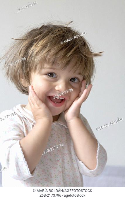 Baby Girl, 21 months, Toddler, cheerful, expressive, gesture, hands, adorable, pyjamas