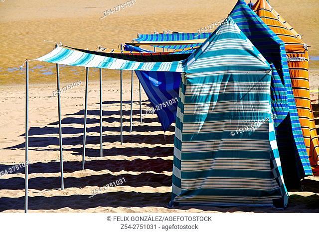 Beach hut at San Lorenzo beach, Gijon, Asturias, Spain