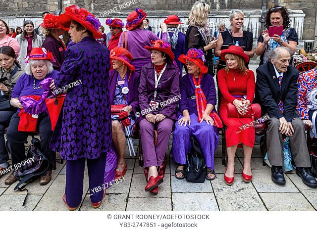 The London Red Hatters At The Pearly Kings and Queens' Harvest Festival, Held Annually At The Guildhall Yard, London, England
