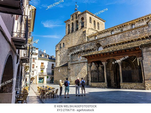 Jaca, Huesca Province, Aragon, Spain. Romanesque Catedral de San Pedro Apóstol. Cathedral of St Peter the Apostle. The building which was constructed mostly in...