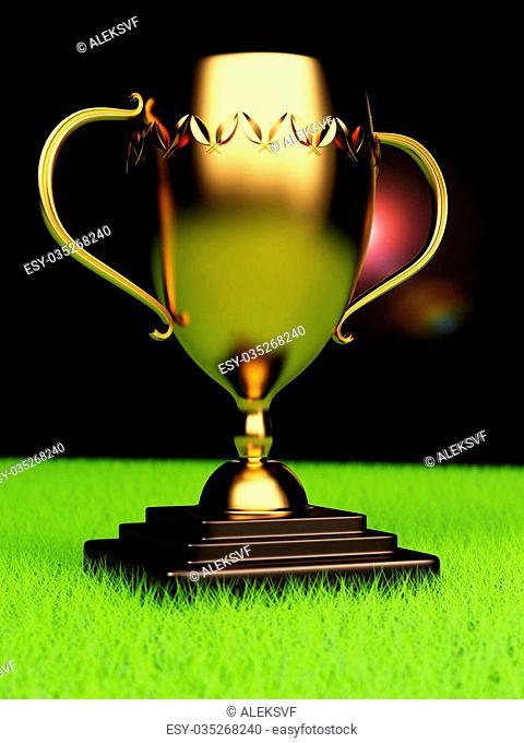 Winner trophy on sports field. 3d rendering image