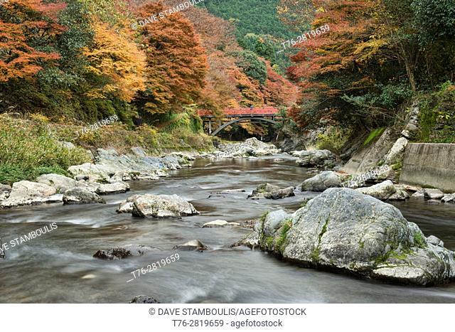 Autumn colors along the Hozo River in Kiyotaki, Kyoto Prefecture, Japan