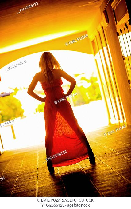 Stock Photo - Woman rearview in long dress against morning light