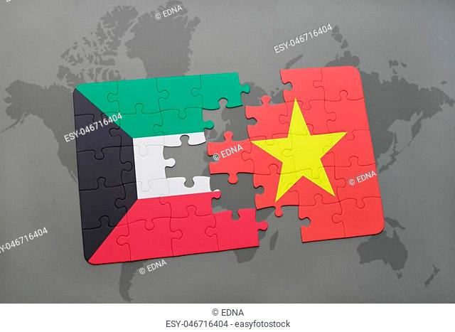 puzzle with the national flag of kuwait and vietnam on a world map background. 3D illustration