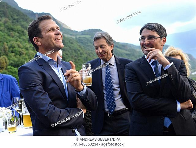 Manager Oliver Bierhoff (2nd L) of the German national soccer team and the governor of South Tyrol, Arno Kompatscher (SVP; C)