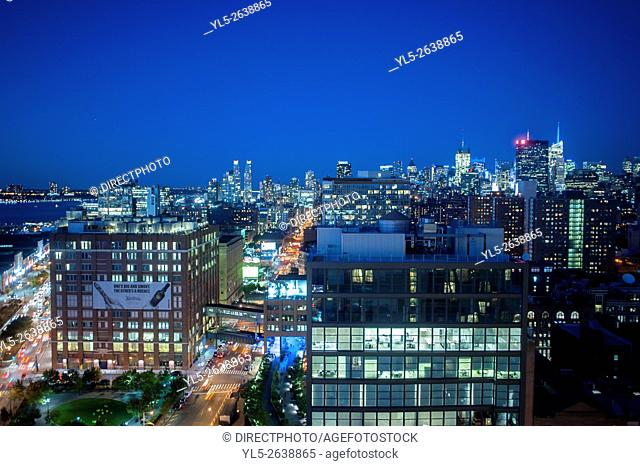 New York, NY, USA, Nighttime Overviews, Cityscapes from Top of the Standard Hotel Rooftop, Meatpacking DIstrict, Manhattan ,