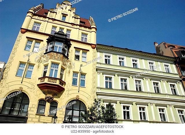Prague Czech Republic, buildings in Ovocny trh