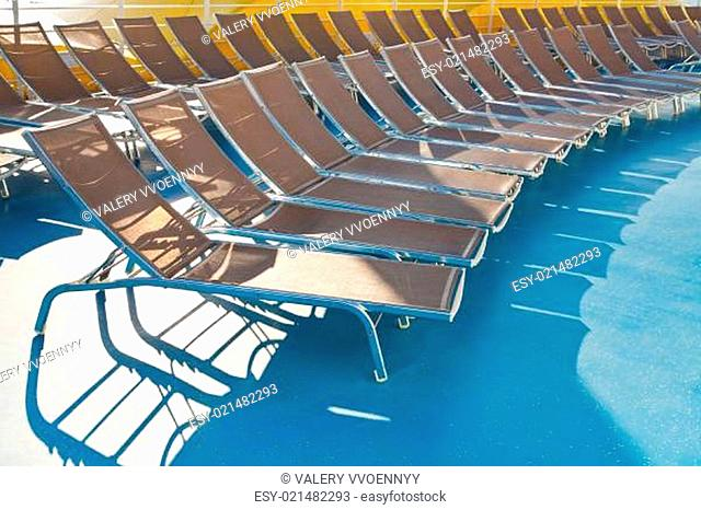 outdoor relaxation deck of cruise liner
