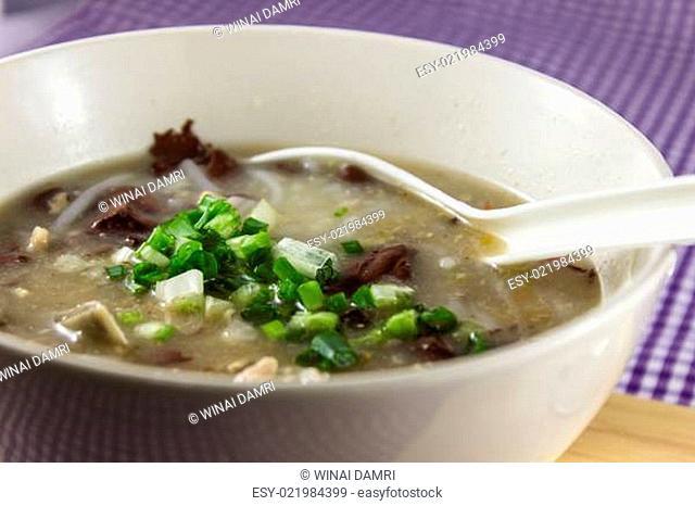 Rice Worm Soup , Kao Paick sen Traditional Thai style food