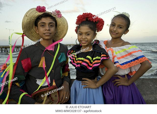 Young people with costumes at carnival parade in Granada,Nicaragua