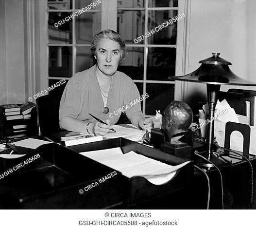 Mrs. Marguerite Lehand, Personal Secretary to President Franklin Roosevelt, Seated Portrait at Desk, Washington DC, USA, Harris & Ewing, 1938
