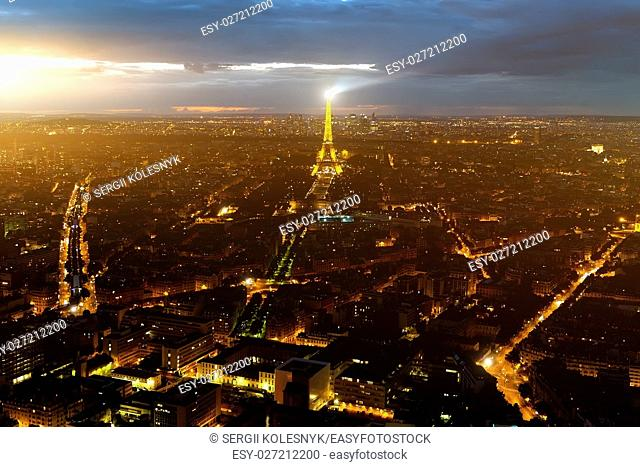 Paris, France skyline, panorama at night. The view from Montpanasse Tower in 20 August 2016