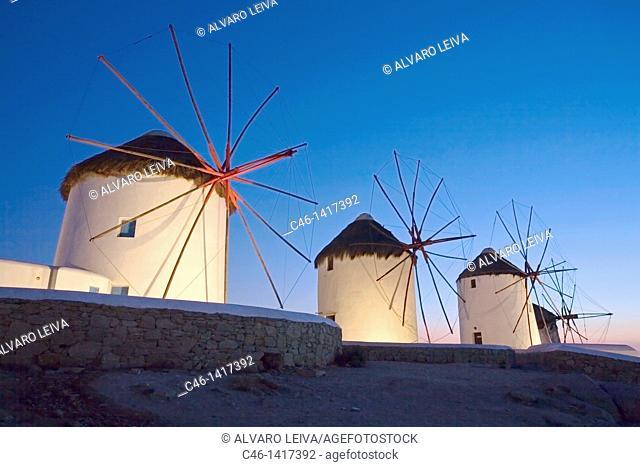 Old windmills  Mykonos  Cyclades Islands  Greece