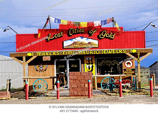 Navajo souvenirs shop . City of Gallup on the edge of the Navajo reservation. New Mexico. United states (USA)