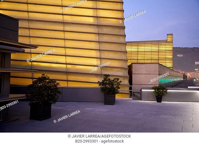 Sunset, Kursaal center, Donostia, San Sebastian, Gipuzkoa, Basque Country, Spain, Europe