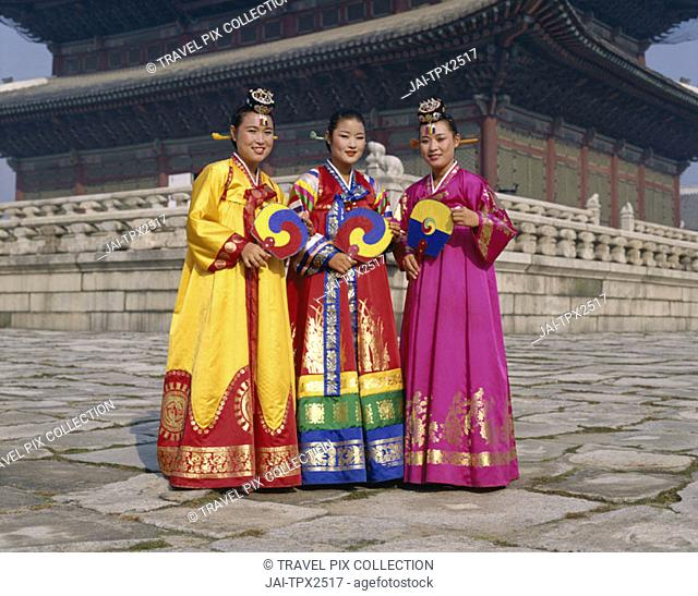 Women Dressed in Traditional Folk Costume, Seoul, South Korea