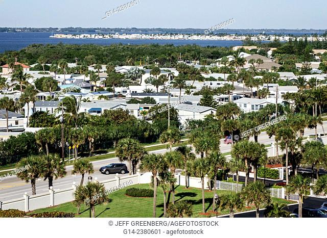 Florida, Jensen Beach, Hutchinson Island, Route A1A, Indian River Lagoon, aerial, prefabricated homes