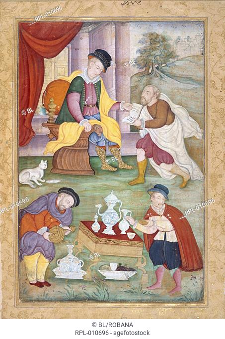 Portuguese figures, A European scene with Portuguese figures. A refreshment, possibly Coffee, is being prepared. Opaque watercolour