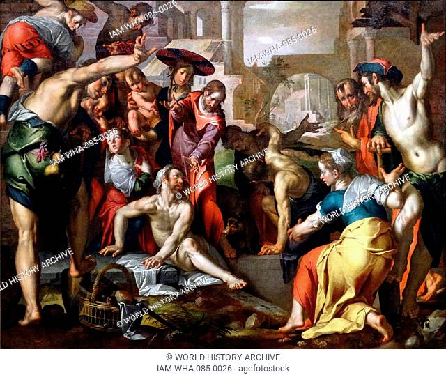 Painting titled 'The Resurrection of Lazarus' by Joachim Wtewael (1566-1638) a Dutch Mannerist painter and draughtsman. Dated 17th Century