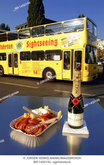Sausage in curry sauce with chips, mayonnaise and ketchup, piccolo champagne, chip stall on Wittenbergplatz Square, underground station, sightseeing bus, Berlin