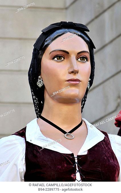 Giant. La Merce feast, September, 24. Sant Jaume square. Gothic quarter. Barcelona, Catalonia, Spain