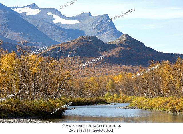 Sarek national park in sepetmer in autumn season, Swedish lapland, sweden