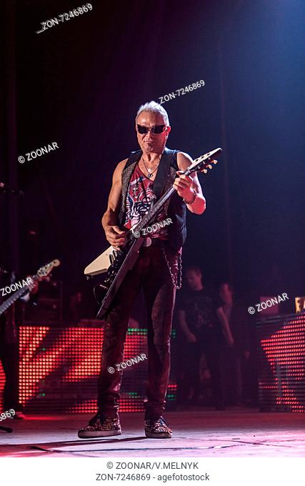 DNIPROPETROVSK, UKRAINE – OCTOBER 31: Rudolf Schenker from Scorpions rock band performs live at Sports Palace SC Meteor. Final tourconcert on October 31