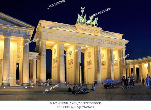 The Brandenburg Gate at Night, Berlin, Germany