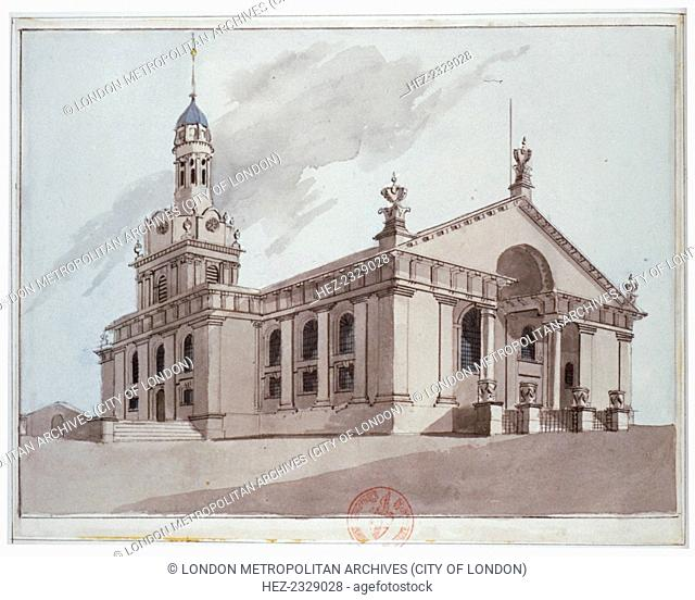 South-east view of the Church of St Alfege, Greenwich, London, 1800. The church was designed by Nicholas Hawksmoor and completed in 1718