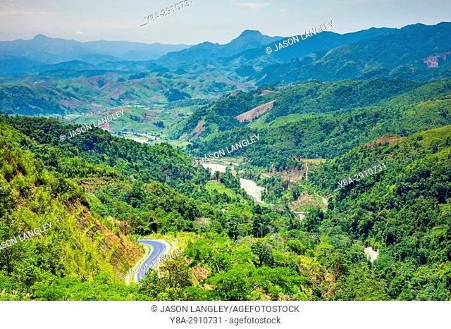 Rolling hills and mountains, lush rural landscape, Vientiane Province, Laos