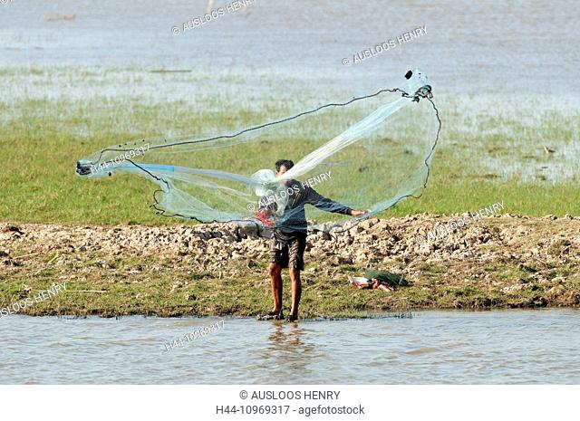 Fisherman, cast net, net, Tale Noi, Patthalung, Thailand, Asia, lake, fishing, sunrise
