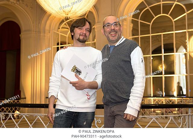 Latvian conductor Ainars Rubikis (L) with director Barrie Kosky in the Komische Oper in Berlin, Germany, 8 May 2017. Rubikis has joined the prestigious opera...