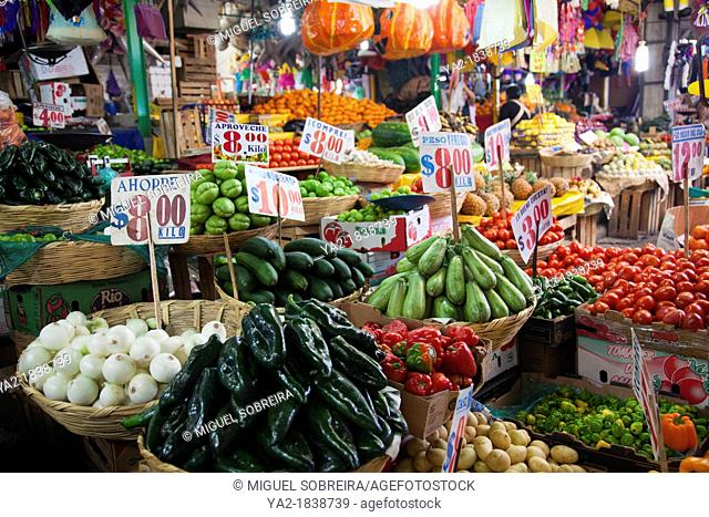 Fresh Produce at Jamaica Market in Colonia Jamaica in Venustiano Carranza borough of Mexico City