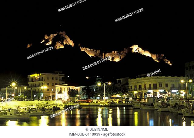 View of Castle and fishing boats, night , Lemnos, N  E  Aegean, Greece