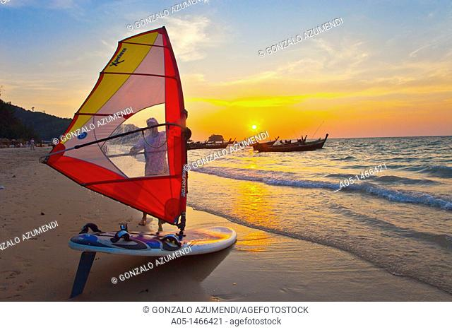 Windsurfer in the Nai Yang beach, Phuket, Thailand