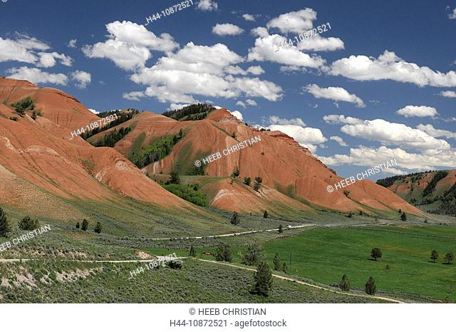 Red Hills with Gros Ventre Road, Grand Teton National Park, Wyoming, USA