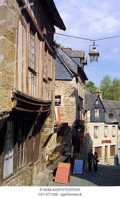Ancient houses, rue du Petit-Fort in the old town of Dinan. Britanny. France