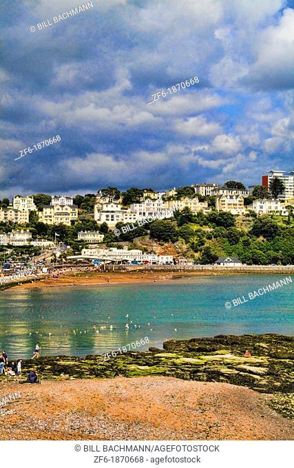 Village of Torquay England Devon and ocean called town the English Rivera Torquay England Devon called the English Rivera