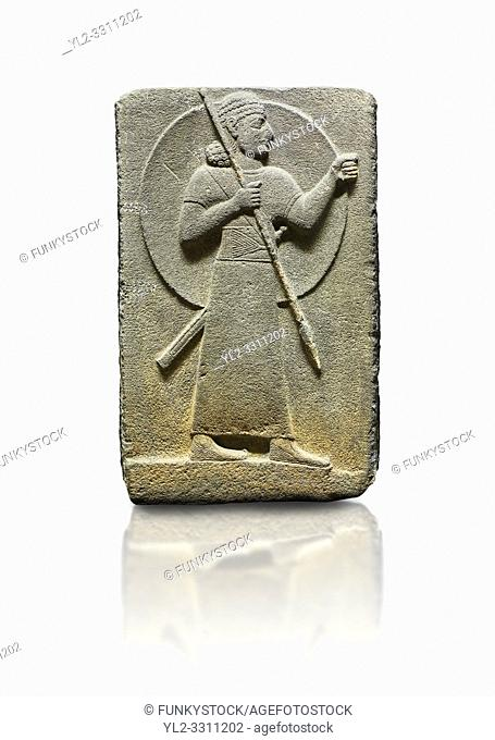 Hittite relief sculpted orthostat stone panel of Royal Buttress. Basalt, Karkamıs, (Kargamıs), Carchemish (Karkemish), 900-700 B. C. Warrior