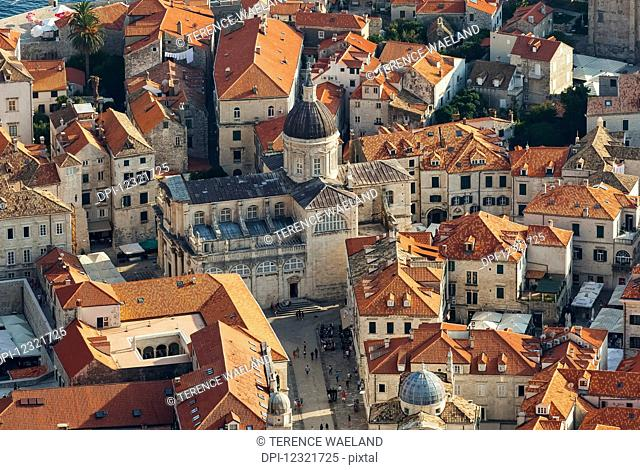 View of rooftops and cathedral; Dubrovnik, Croatia