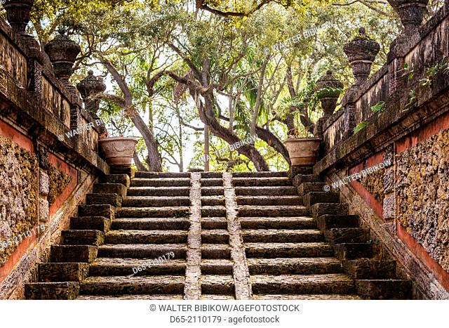USA, Florida, Miami-area, Coconut Grove, Vizcaya Museum and Gardens, staircase