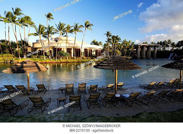 Lagoon and stairs of the Hilton Waikoloa Village, hotel resort, Big Island of Hawaii, USA