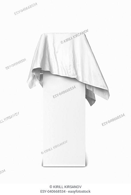 Cloth piece on a stand. 3d illustration isolated on white background