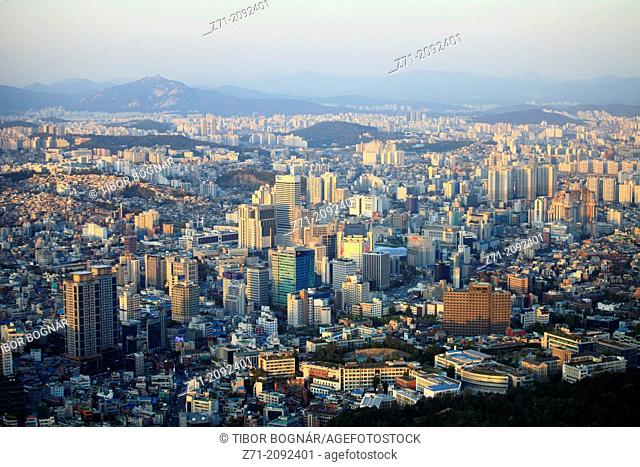 South Korea, Seoul, skyline, general, aerial, view,