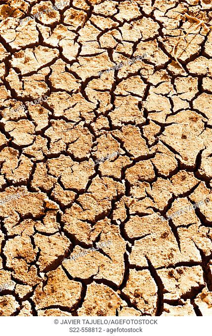 Dry land after long draught. Toledo, Castilla La Mancha, Spain